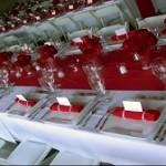 Rouge et blanc assiettes rectangulaires
