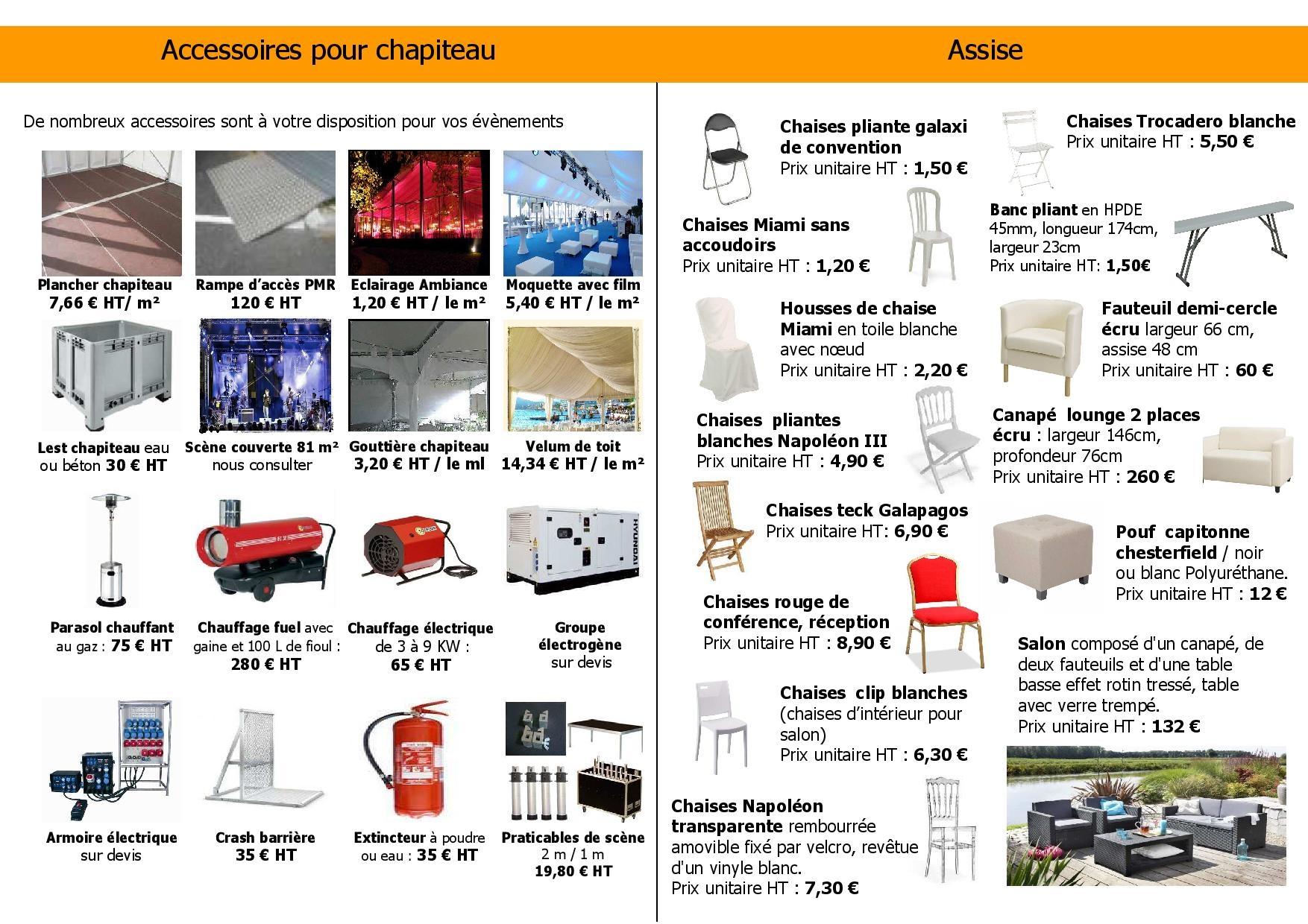 location de matériel pour chapiteaux et chaises